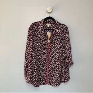 NWT Michael Kors Pink Printed Collar Zip-Up Blouse
